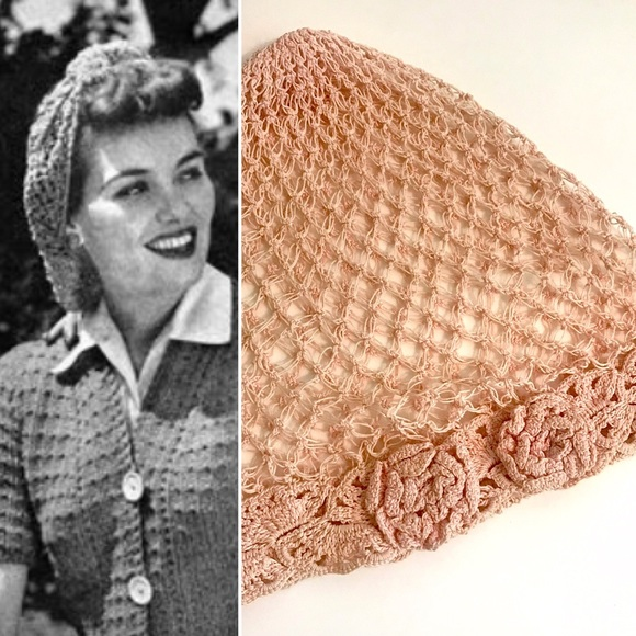 Vintage Accessories 1940s Crocheted Pink Pinup Hair Snood Poshmark